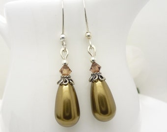 Long dark olive green pearl earrings in sterling silver with bronze and brown