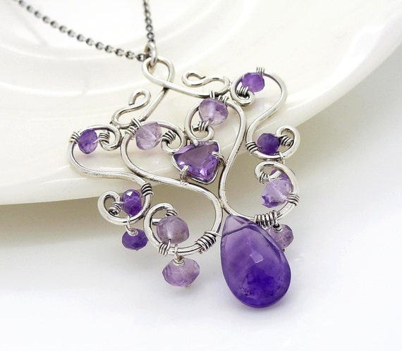 Sterling silver amethyst necklace, oxidized silver wire wrapped jewelry, handmade jewelry, amethyst pendant