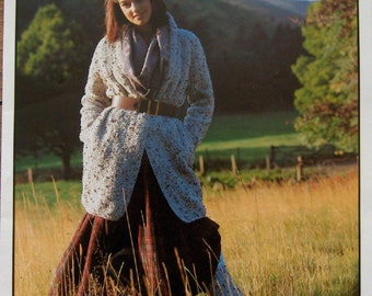 vintage Hayfield knitting pattern Grousemoor/Chunky  misses coat and legwarmers sz 30-38""