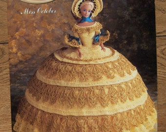 crochet pattern Antebellum collection fashion doll dress Miss October