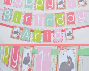 Bunny Birthday Party Banner Decorations Fully Assembled