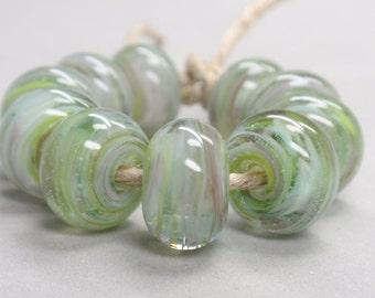 Bigger Springbreeze Swirls  - 10 Handmade Lampwork Beads SW 122