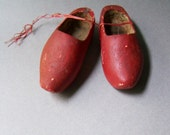 Vintage Red Wooden Shoes ~ Little Red Shoes ~ Display ~ Prop