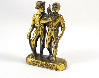 Tom Sawyer & Huckleberry Finn Brass Sculpture Souvenir from 1930s