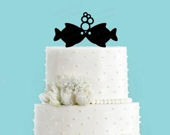 Fish Kissing, Two Less Fish Nautical Summer Beach Wedding Acrylic Wedding Cake Topper