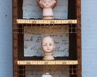 "Assemblage Art Mixed Media Shrine Found Object ""Childhood Friends"""