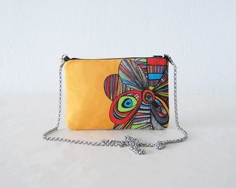 small bag colorful clutch yellow printed design pouch mini handbag small bag flower clutch bag design small bag cotton canvas chain bag