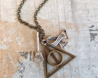 Christmas in July Sale Deathly Hallows Necklace, Harry Potter, Broomstick, Scarf