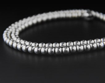 Vintage Mexican Silver Bead Necklace, Sterling Silver, Sterling Bead Necklace, 80s Necklace, Mexican Jewelry,