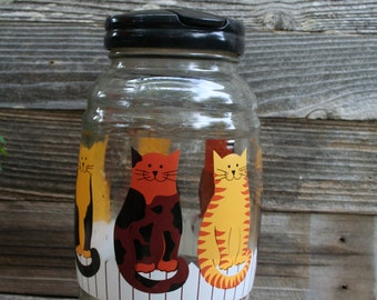 Vintage 1970s Gallon Sun Tea Jug / Cats / Picnic Jug / Party Jug / Tea Jar