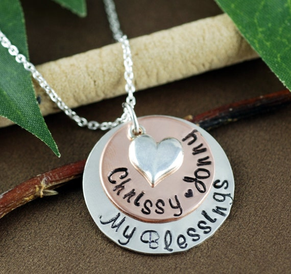 My Blessings Mothers Necklace,  Personalized Mom Necklace, Mom Layered Necklace, Mixed Metal Necklace, Gift for Mom, Mothers Necklace