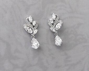 Vintage Style Crystal Wedding Earrings, Vintage Style 1920s Gatsby Bridal Earrings, Bridesmaid Earrings, Wedding Earrings - 'ALLURA'