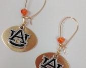 Auburn Earrings,Auburn jewelry, Dangle gold earrings Auburn