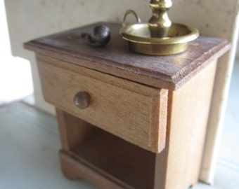 Dollhouse Bedroom Decor. Wooden Nightstand with Brass Candlestick and Pipe. #242