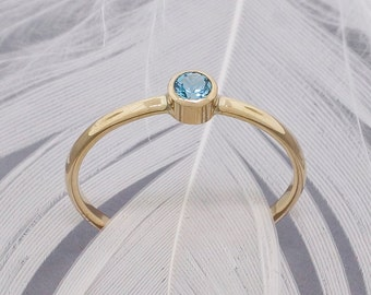 Blue topaz ring, 14k gold stacking ring, 3mm genuine AA quality Swiss blue topaz