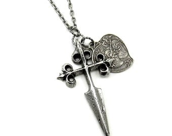 ONLY 2 LEFT! Medieval Inspired Necklace with Cross Fitchy Sword and Sacred Heart - A Wandering Weapon - Plated in Sterling Silver