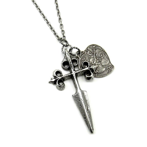 ONLY 2 LEFT! Gothic / Medieval Necklace with Cross Fitchy Sword and Sacred Heart - A Wandering Weapon - Plated in Sterling Silver