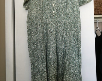 CYBER MONDAY SALE 50s Green Paisley Cotton Dress