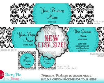 Etsy's New Size! TURQUOISE / B&W DAMASK Etsy Shop Graphics Package - Etsy Cover / Store Design (Business Card, Facebook Cover upgrade)