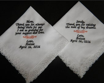 2 Wedding handkerchiefs - FREE SHIPPING - each under 40 words