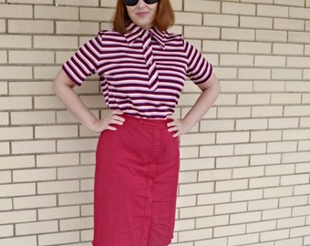 70s pink striped polo, 1970s print shirt, vintage polyester shirt large