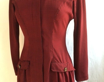 Vintage Red And Black HOUNDSTOOTH Dress / Womens Medium Large