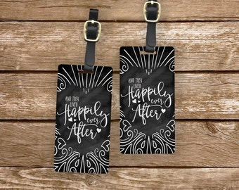 Luggage Tag Set Happily Ever After Chalkboard effect Metal Luggage Tag Set With Custom Info On Back, 2 Tags Choice of Straps