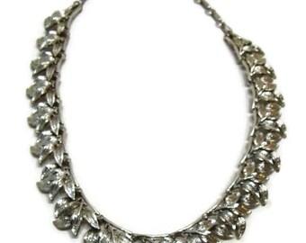 Vintage Coro Necklace Vintage Leaf Pattern Silver Collar Necklace Vintage Leaf Necklace Vintage Wedding Necklaces Vintage Collar Necklace