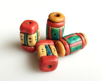 Bright Multicolored Rustic Boho Cylinder Beads in Red, Yellow, Green and Blue--Two Pair