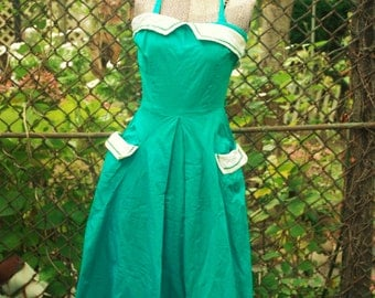 Vintage 1950s Green Day Dress with Matching Bolero Jacket by Betty Barclay XS/S