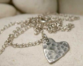 Simple Sterling Silver Hammered Heart Pendant Necklace, Hand Forged Artisan Silver Romantic Jewelry, Rustic Oxidized Silver Charm Necklace