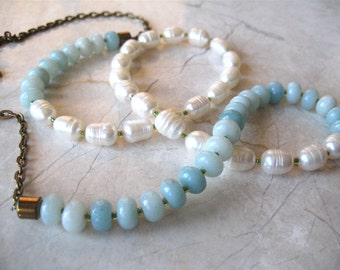 50% off - Exclusive Amazonite and Pearl Necklace