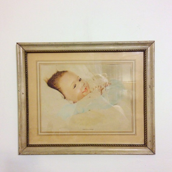 Vintage 1940s Baby framed print PRECIOUS AWAKE 40s lithograph by Edythe Marie Klapka smiling Infant nursery old watercolor painting print