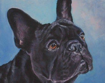 FRENCH BULLDOG art portrait canvas PRINT of LAShepard painting frenchie dog 8x8""
