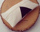 SALE - Triangle Pencil Case, Cotton Pouch, Gadget Case, Geometric, Natural, Cotton, Black