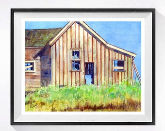 Old Barn Watercolor art Print archival Rustic Farm art Old farmhouse painting watercolor painting of barn Landscape painting country A