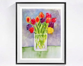 Original Still Life Tulip Bouquet abstract art Original watercolor painting Flowers garden art Floral wall art Floral Bouquet 12 x 15