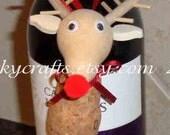 Christmas  reindeer ornament - Wine cork reindeer, gift tag/ wine bottle tag/tree ornament