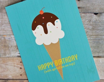 Happy Birthday with Sprinkles on Top Ice Cream Cone Card