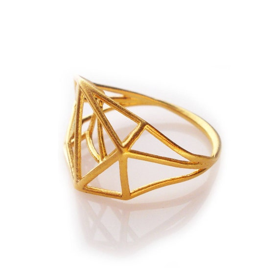 Geometric Ring, Architecture Structure Brass Ring, Minimal Jewelry, Brass Geometric Ring, Brass Jewelry, Geometric Jewelry