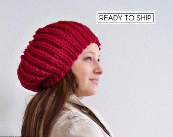 Chunky Knit Hat, Knit Pom Pom Hat, Knit Hat, Womens Hat, Womens Slouchy Beanie, Slouchy Hat, Pom Beanie, Chunky Hat, Slouch Beanie, Red Hat