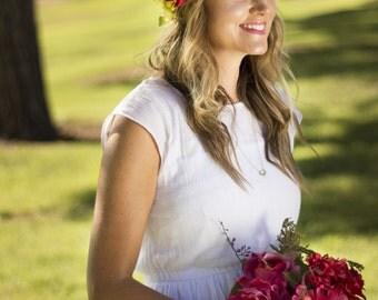 Jillian Floral Crown Silk Flower Crown Maternity Photoshoot Wedding Accessory