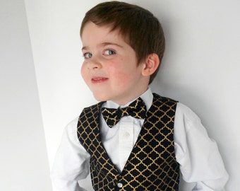Black and Gold Vest with Tie - Infant to Boys size 7