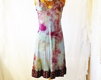 Small Romantic Tie Dye Vintage Slip/Blue Violet Brown/Upcycled/Ecru Rustic Wedding/Upcycled cowgirl/Tattered Revolution/French Summer Slip