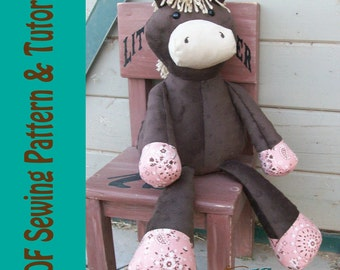 Plush Horse Doll Sewing Pattern and Tutorial Rustic Horseshoe Orginal Nutty Nag