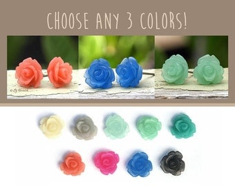 Mini Rose Earrings - 3 Pair Set - You Choose the Colors! Resin Rosette Studs, Titanium or Stainless Steel Posts