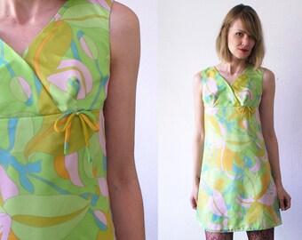 60s mini dress. psychedelic dress. empire waist dress. salad green chiffon dress - xs, small, petite