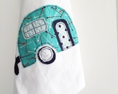 Appliqued Tea Towel Camper Retro Aqua Pins - 100% Cotton Flour Sack