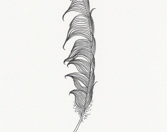 Original ink feather drawing ~ Messy and black