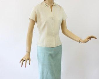 Vinage 50s Blouse & Skirt Evan Picone Silk Set White Top Blue Skirt Size 12 Bust 36